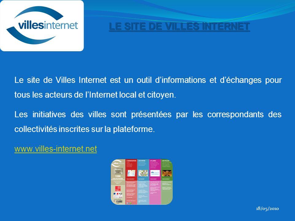 LE SITE DE VILLES INTERNET Le site de Villes Internet est un outil dinformations et déchanges pour tous les acteurs de lInternet local et citoyen.
