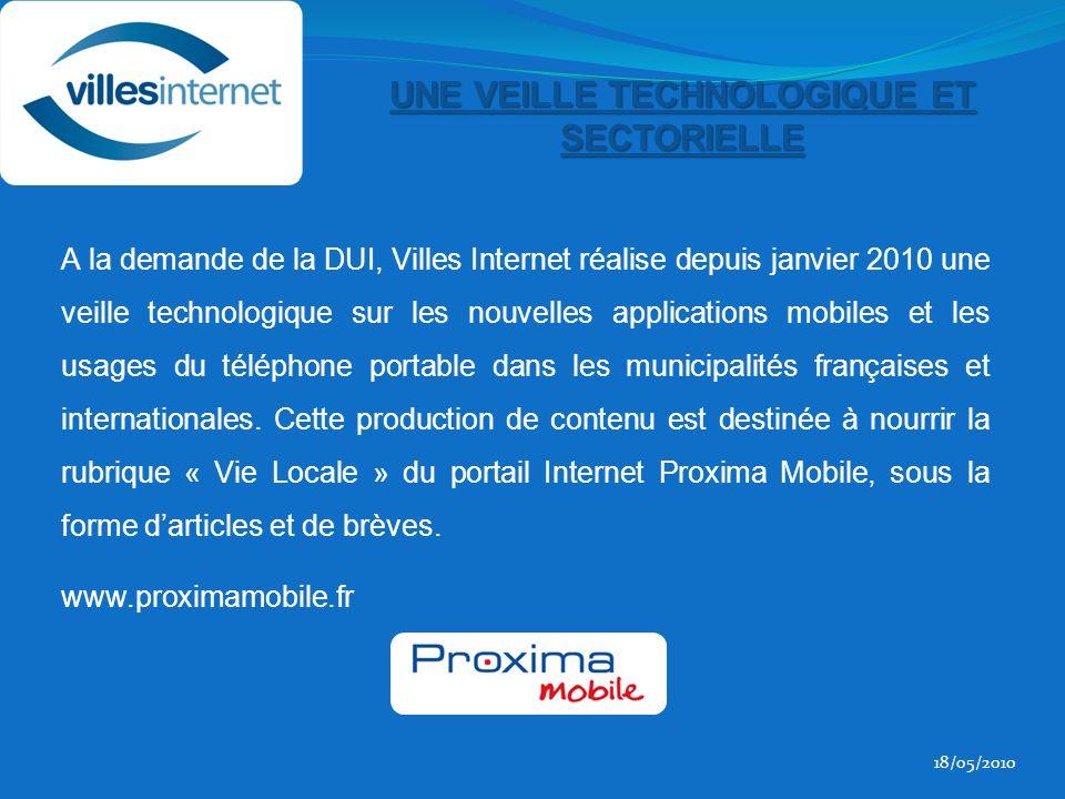 A la demande de la DUI, Villes Internet réalise depuis janvier 2010 une veille technologique sur les nouvelles applications mobiles et les usages du téléphone portable dans les municipalités françaises et internationales.