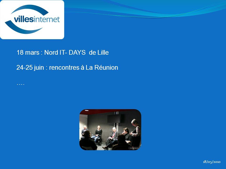 18/05/2010 18 mars : Nord IT- DAYS de Lille 24-25 juin : rencontres à La Réunion ….