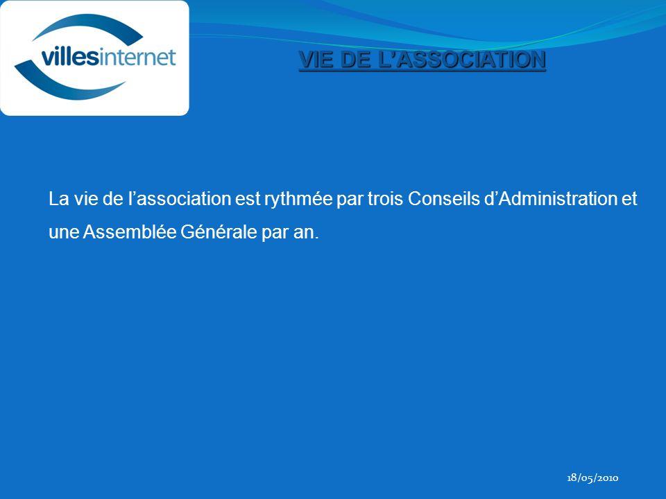 18/05/2010 VIE DE LASSOCIATION La vie de lassociation est rythmée par trois Conseils dAdministration et une Assemblée Générale par an.