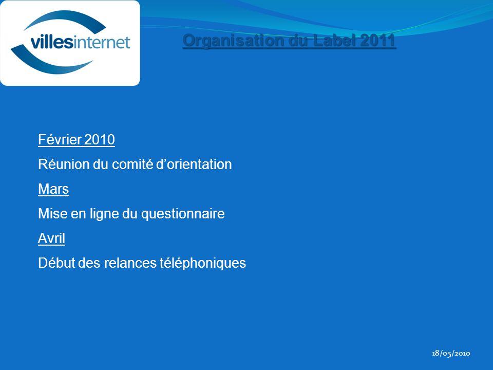 Février 2010 Réunion du comité dorientation Mars Mise en ligne du questionnaire Avril Début des relances téléphoniques 18/05/2010 Organisation du Label 2011