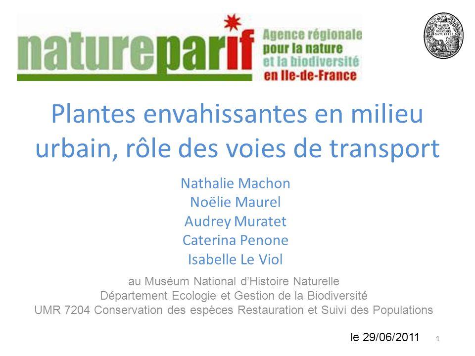 118 juin 2010 Plantes envahissantes en milieu urbain, rôle des voies de transport Nathalie Machon Noëlie Maurel Audrey Muratet Caterina Penone Isabell
