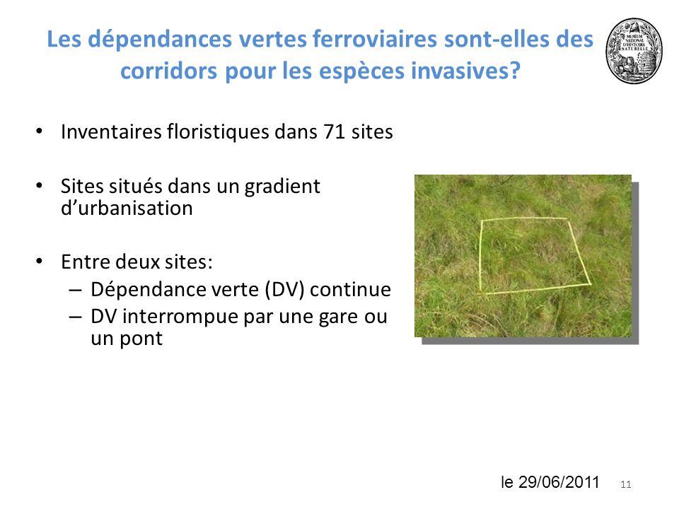 1118 juin 2010 Les dépendances vertes ferroviaires sont-elles des corridors pour les espèces invasives? Inventaires floristiques dans 71 sites Sites s
