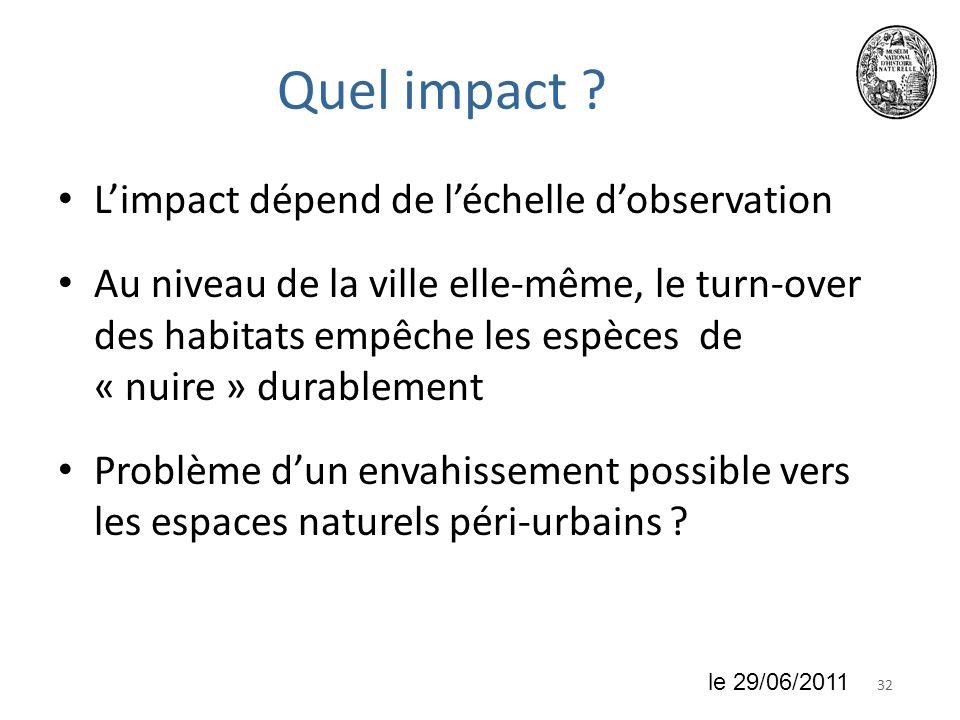 3218 juin 2010 Quel impact ? Limpact dépend de léchelle dobservation Au niveau de la ville elle-même, le turn-over des habitats empêche les espèces de