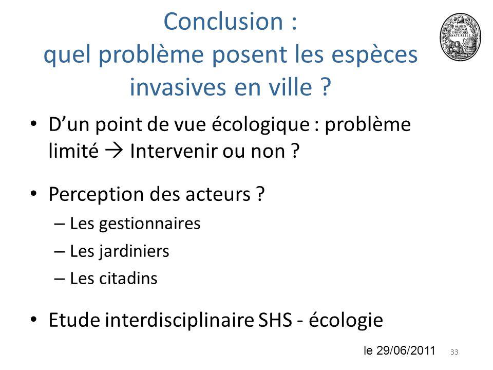 3318 juin 2010 Conclusion : quel problème posent les espèces invasives en ville ? Dun point de vue écologique : problème limité Intervenir ou non ? Pe