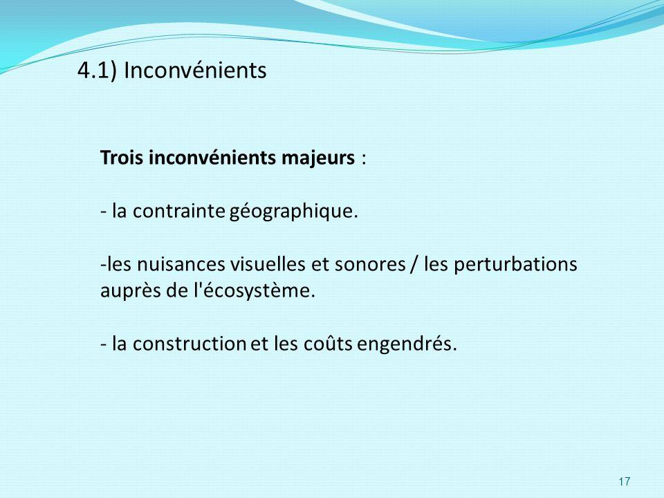 4.1) Inconvénients Trois inconvénients majeurs : - la contrainte géographique. -les nuisances visuelles et sonores / les perturbations auprès de l'éco