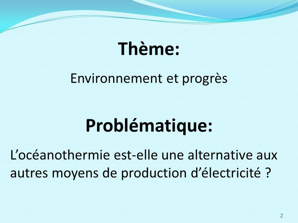 Thème: Environnement et progrès Locéanothermie est-elle une alternative aux autres moyens de production délectricité ? Problématique: 2