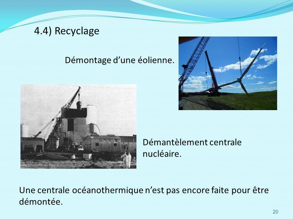 4.4) Recyclage Démantèlement centrale nucléaire. Démontage dune éolienne. Une centrale océanothermique nest pas encore faite pour être démontée. 20