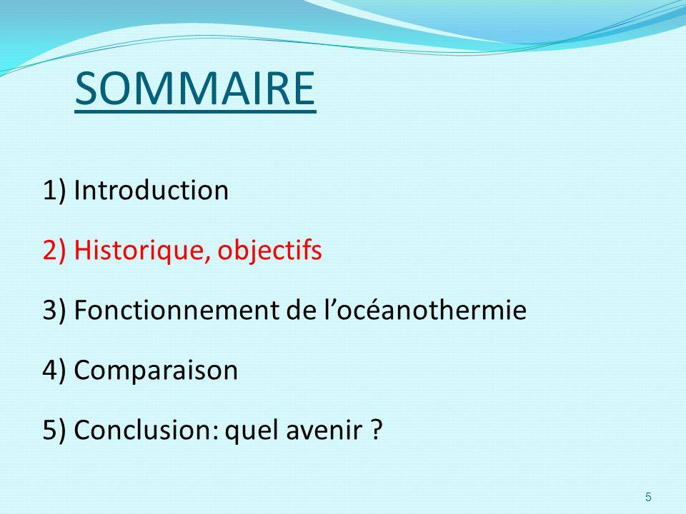 SOMMAIRE 1) Introduction 2) Historique, objectifs 3) Fonctionnement de locéanothermie 4) Comparaison 5) Conclusion: quel avenir ? 5