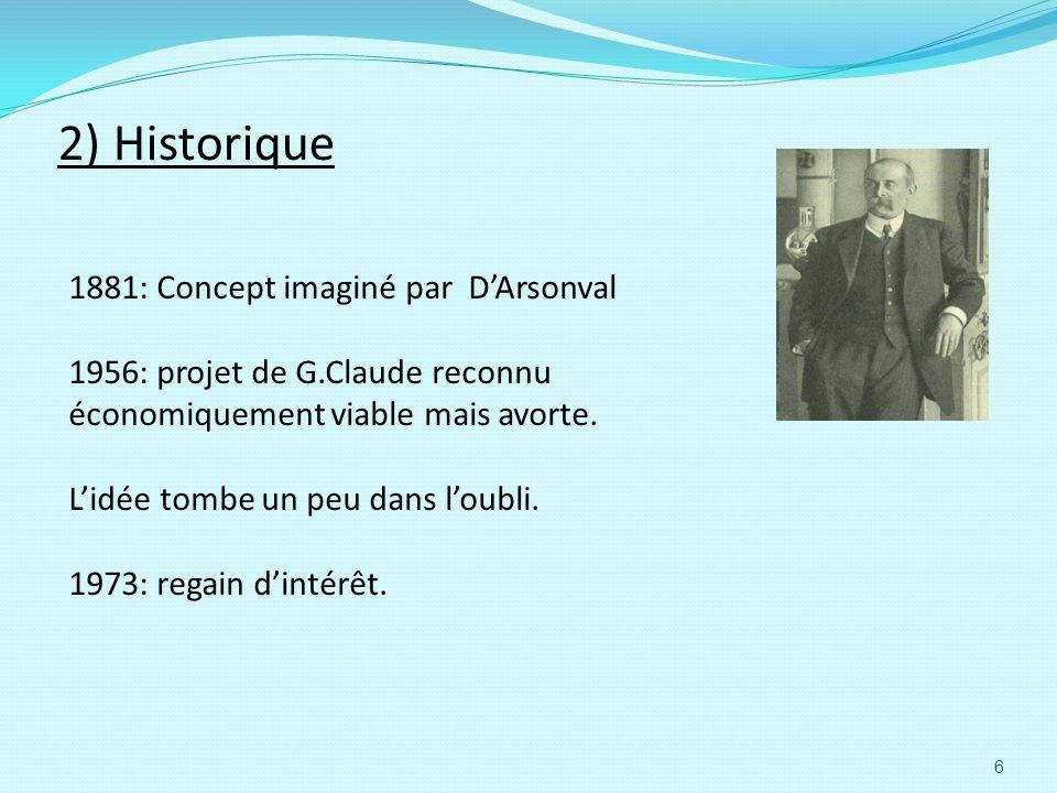 2) Historique 1881: Concept imaginé par DArsonval 1956: projet de G.Claude reconnu économiquement viable mais avorte. Lidée tombe un peu dans loubli.