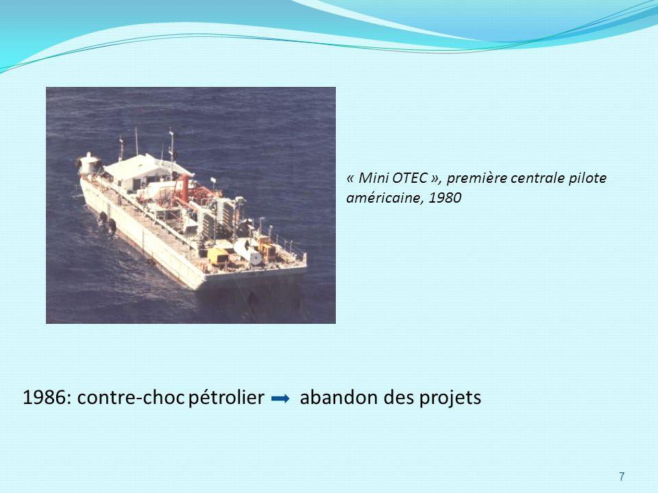 « Mini OTEC », première centrale pilote américaine, 1980 1986: contre-choc pétrolier abandon des projets 7