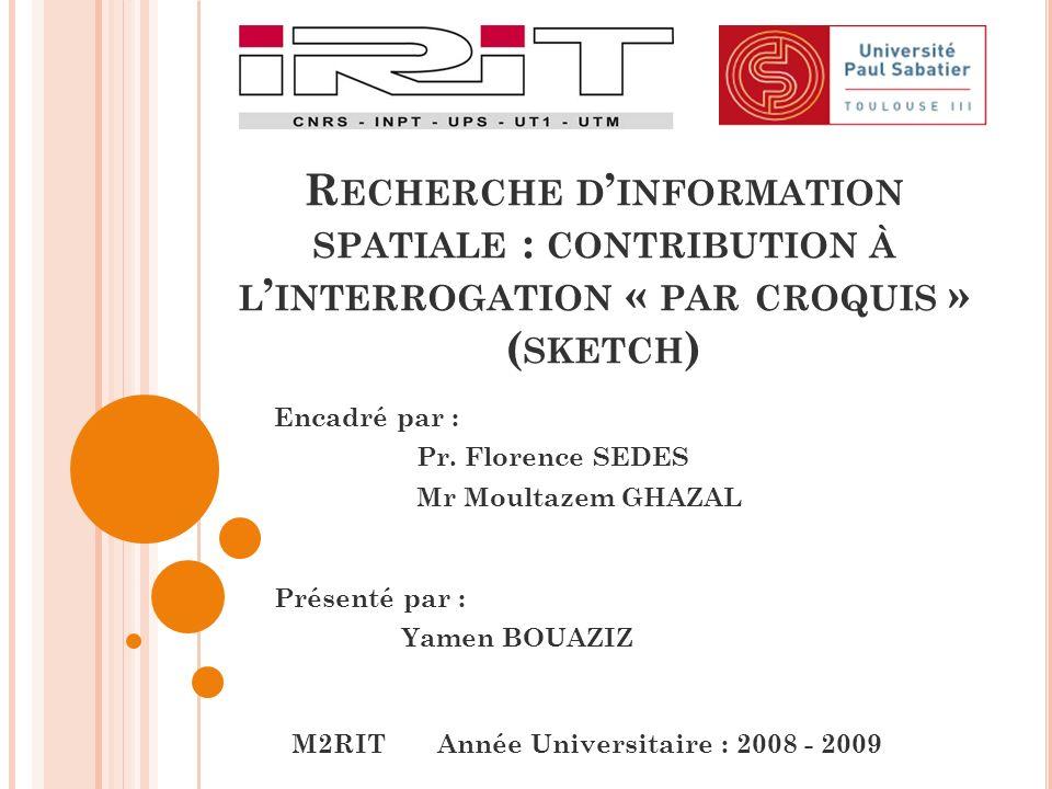 Présenté par : Yamen BOUAZIZ R ECHERCHE D INFORMATION SPATIALE : CONTRIBUTION À L INTERROGATION « PAR CROQUIS » ( SKETCH ) M2RIT Année Universitaire : 2008 - 2009 Encadré par : Pr.