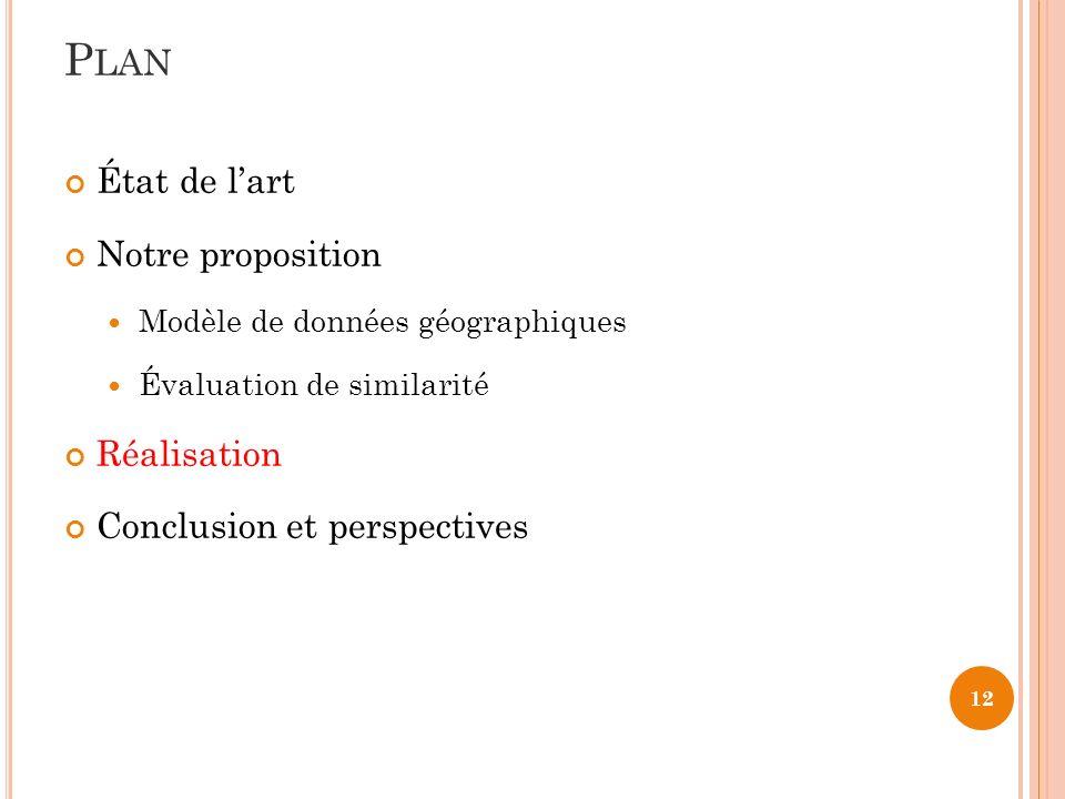 12 État de lart Notre proposition Modèle de données géographiques Évaluation de similarité Réalisation Conclusion et perspectives P LAN