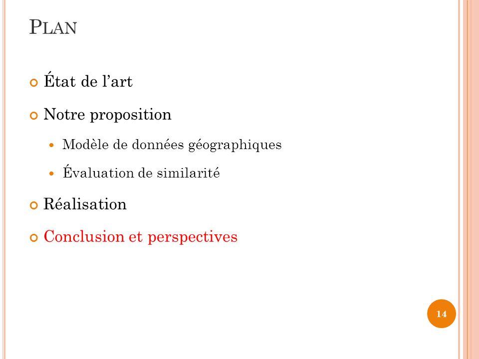 14 État de lart Notre proposition Modèle de données géographiques Évaluation de similarité Réalisation Conclusion et perspectives P LAN