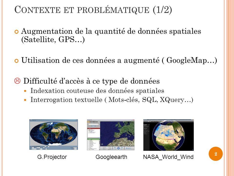 C ONTEXTE ET PROBLÉMATIQUE (1/2) Augmentation de la quantité de données spatiales (Satellite, GPS…) Utilisation de ces données a augmenté ( GoogleMap…) Difficulté daccès à ce type de données Indexation couteuse des données spatiales Interrogation textuelle ( Mots-clés, SQL, XQuery…) 2 G.ProjectorGoogleearthNASA_World_Wind