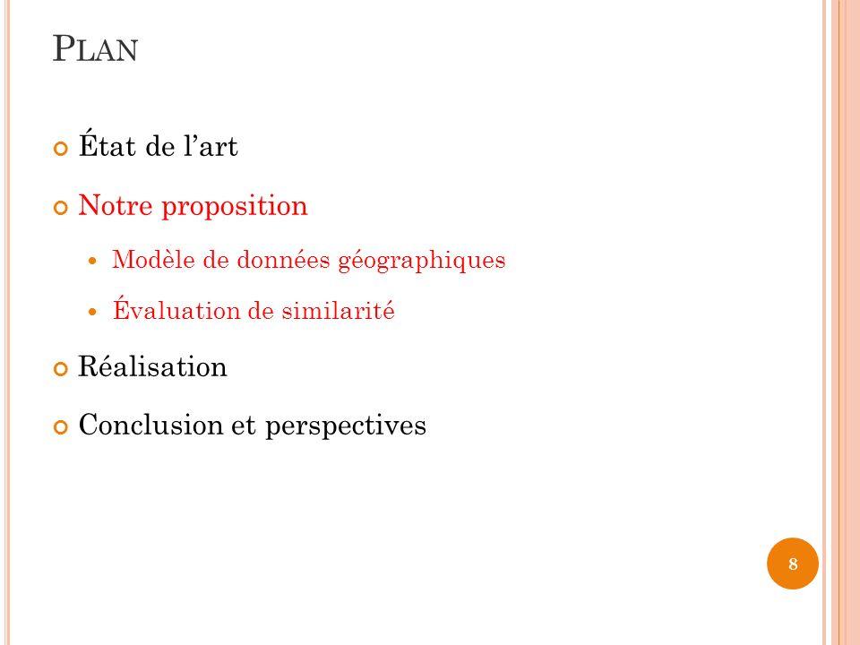 8 État de lart Notre proposition Modèle de données géographiques Évaluation de similarité Réalisation Conclusion et perspectives P LAN