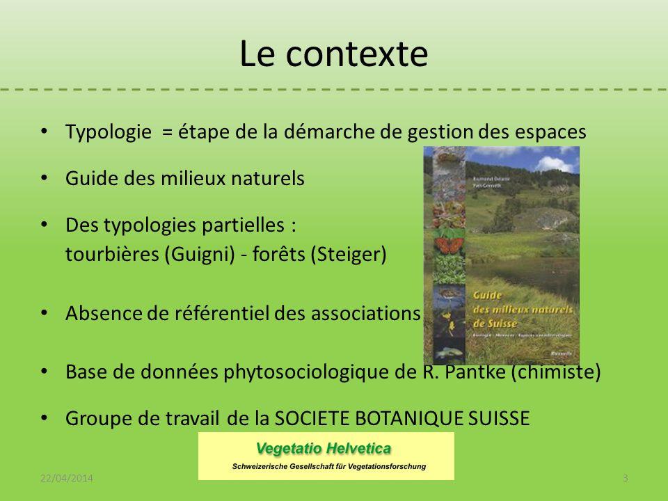 Typologie = étape de la démarche de gestion des espaces Guide des milieux naturels Des typologies partielles : tourbières (Guigni) - forêts (Steiger)