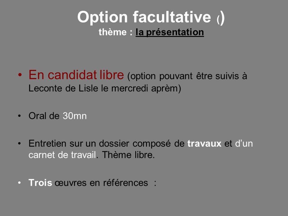 Option facultative ( ) thème : la présentation En candidat libre (option pouvant être suivis à Leconte de Lisle le mercredi aprèm) Oral de 30mn Entret