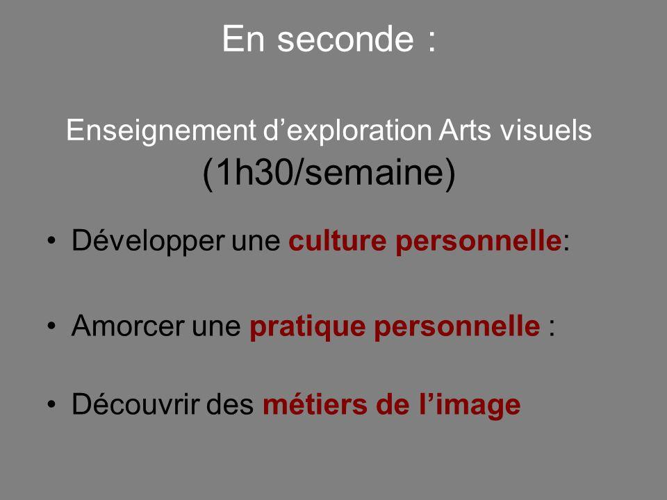 En seconde : Enseignement dexploration Arts visuels (1h30/semaine) Développer une culture personnelle: Amorcer une pratique personnelle : Découvrir de