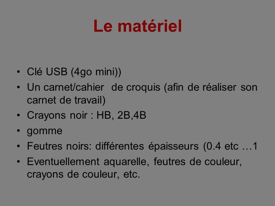 Le matériel Clé USB (4go mini)) Un carnet/cahier de croquis (afin de réaliser son carnet de travail) Crayons noir : HB, 2B,4B gomme Feutres noirs: dif