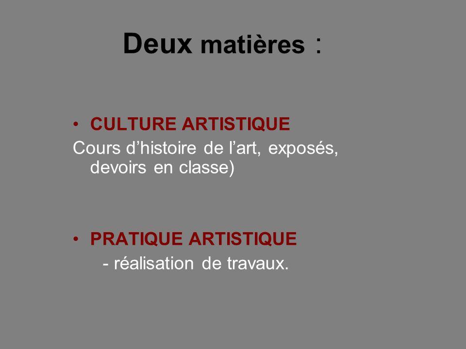CULTURE ARTISTIQUE Cours dhistoire de lart, exposés, devoirs en classe) PRATIQUE ARTISTIQUE - réalisation de travaux. Deux matières :