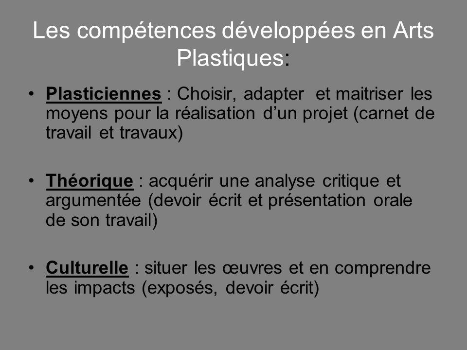 Les compétences développées en Arts Plastiques: Plasticiennes : Choisir, adapter et maitriser les moyens pour la réalisation dun projet (carnet de tra