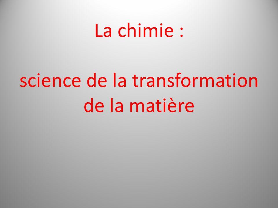 La chimie : science de la transformation de la matière