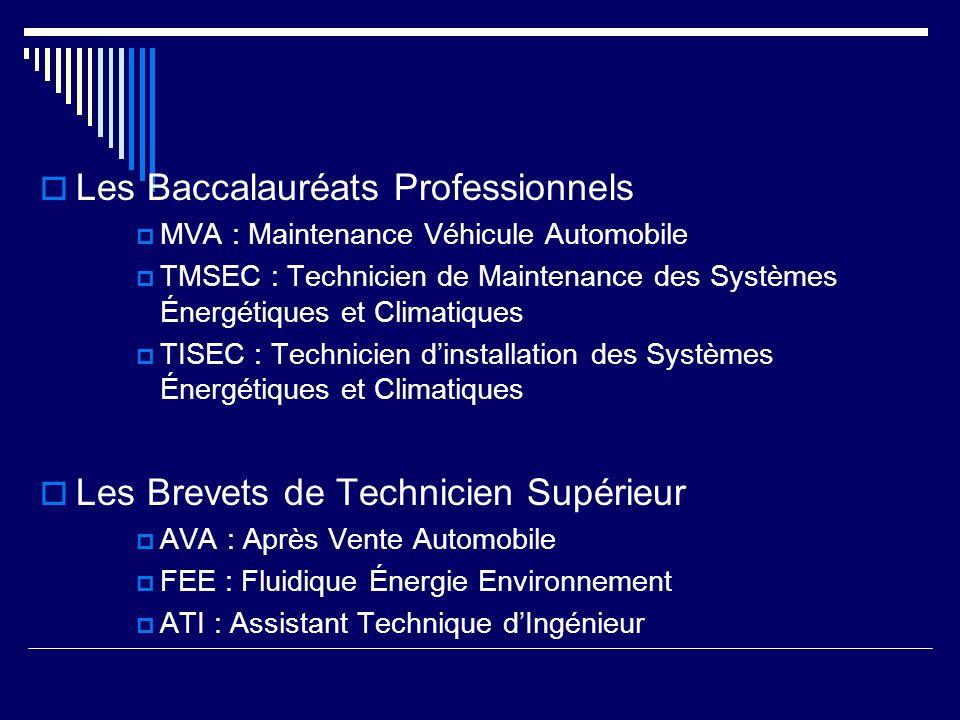 Les Baccalauréats Professionnels MVA : Maintenance Véhicule Automobile TMSEC : Technicien de Maintenance des Systèmes Énergétiques et Climatiques TISEC : Technicien dinstallation des Systèmes Énergétiques et Climatiques Les Brevets de Technicien Supérieur AVA : Après Vente Automobile FEE : Fluidique Énergie Environnement ATI : Assistant Technique dIngénieur