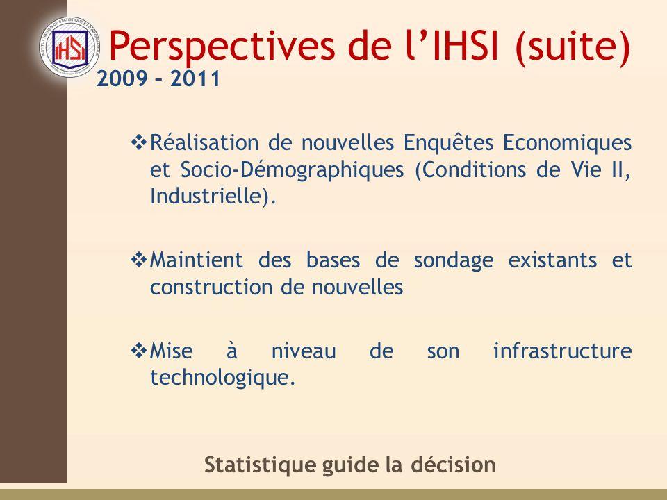 Statistique guide la décision Perspectives de lIHSI (suite) 2009 – 2011 Réalisation de nouvelles Enquêtes Economiques et Socio-Démographiques (Conditions de Vie II, Industrielle).