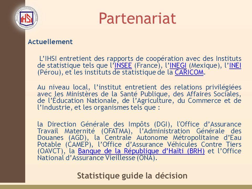Statistique guide la décision Partenariat Actuellement LIHSI entretient des rapports de coopération avec des Instituts de statistique tels que lINSEE (France), lINEGI (Mexique), lINEI (Pérou), et les instituts de statistique de la CARICOM.INSEEINEGIINEICARICOM Au niveau local, linstitut entretient des relations privilégiées avec les Ministères de la Santé Publique, des Affaires Sociales, de lÉducation Nationale, de lAgriculture, du Commerce et de lIndustrie, et les organismes tels que : la Direction Générale des Impôts (DGI), l Office dAssurance Travail Maternité (OFATMA), lAdministration Générale des Douanes (AGD), la Centrale Autonome Métropolitaine dEau Potable (CAMEP), lOffice dAssurance Véhicules Contre Tiers (OAVCT), la Banque de la République dHaïti (BRH) et lOffice National dAssurance Vieillesse (ONA).