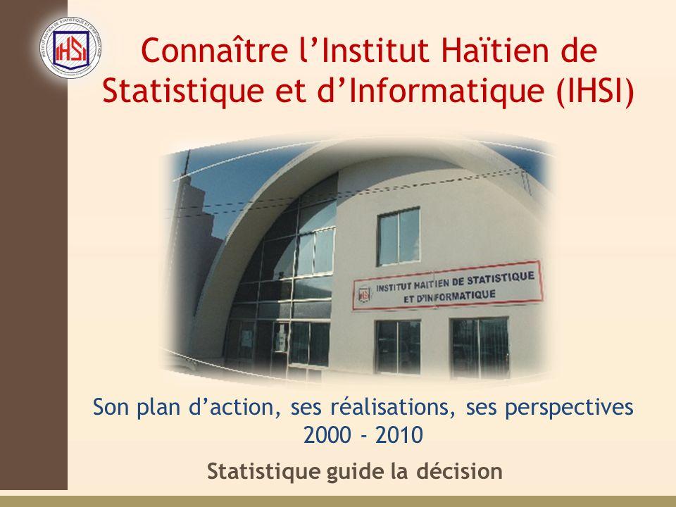 Statistique guide la décision Connaître lInstitut Haïtien de Statistique et dInformatique (IHSI) Son plan daction, ses réalisations, ses perspectives 2000 - 2010