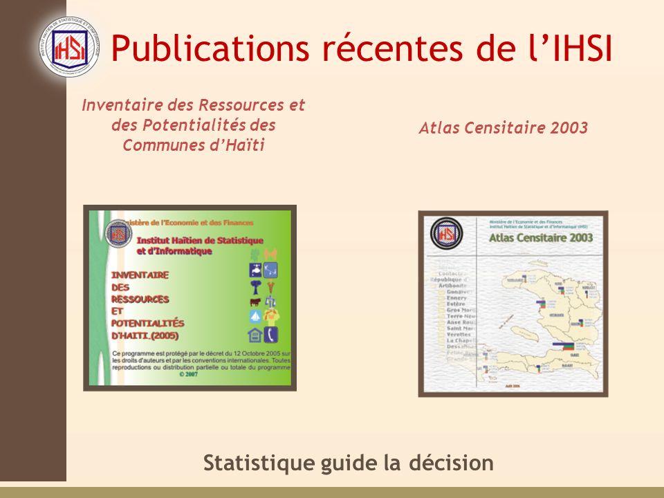 Statistique guide la décision Inventaire des Ressources et des Potentialités des Communes dHaïti Atlas Censitaire 2003 Publications récentes de lIHSI