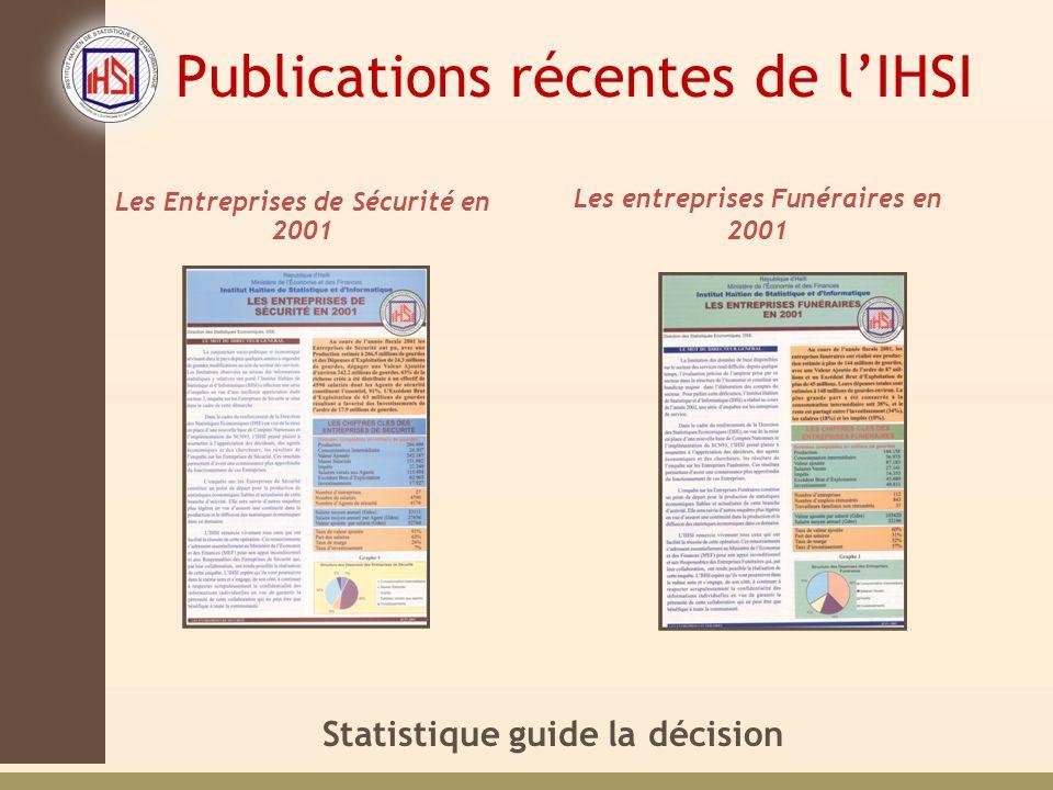Statistique guide la décision Publications récentes de lIHSI Les Entreprises de Sécurité en 2001 Les entreprises Funéraires en 2001