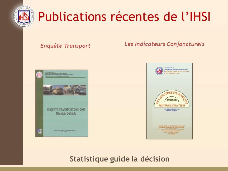 Statistique guide la décision Enquête Transport Les Indicateurs Conjoncturels Publications récentes de lIHSI