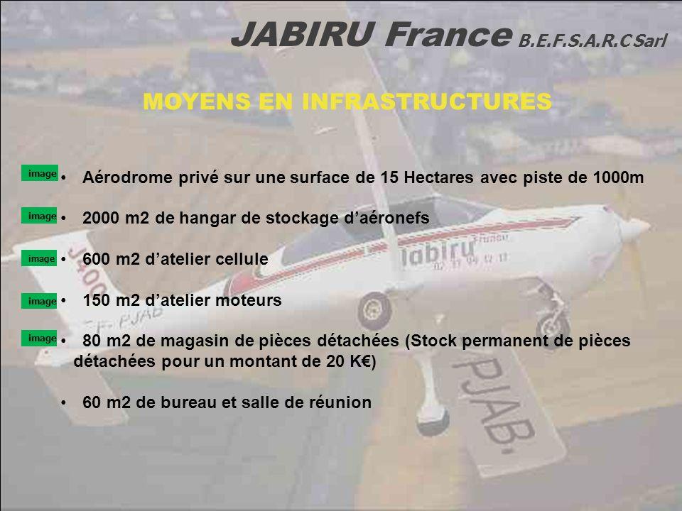 JABIRU France B.E.F.S.A.R.C Sarl MOYENS EN INFRASTRUCTURES Aérodrome privé sur une surface de 15 Hectares avec piste de 1000m 2000 m2 de hangar de sto