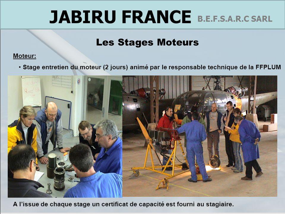 France B.E.F.S.A.R.C SARL JABIRU FRANCE Suivi administratif La société B.E.F.S.A.R.C a été mandatée par lusine JABIRU AUSTRALIE pour réaliser lensemble des démarches nécessaires à la certification des produits de la gamme Jabiru : Certification du SK 80 en expérimental Certification de UL 450 catégorie ULM multi axe biplace Certification du J400 en catégorie CNSK2 Certification du moteur 2.2 en JAR 22 H (en cours) Nos relations avec le bureau central du Gsac, le siège de la DGAC et les ASA sont régulières et basées sur la confiance.