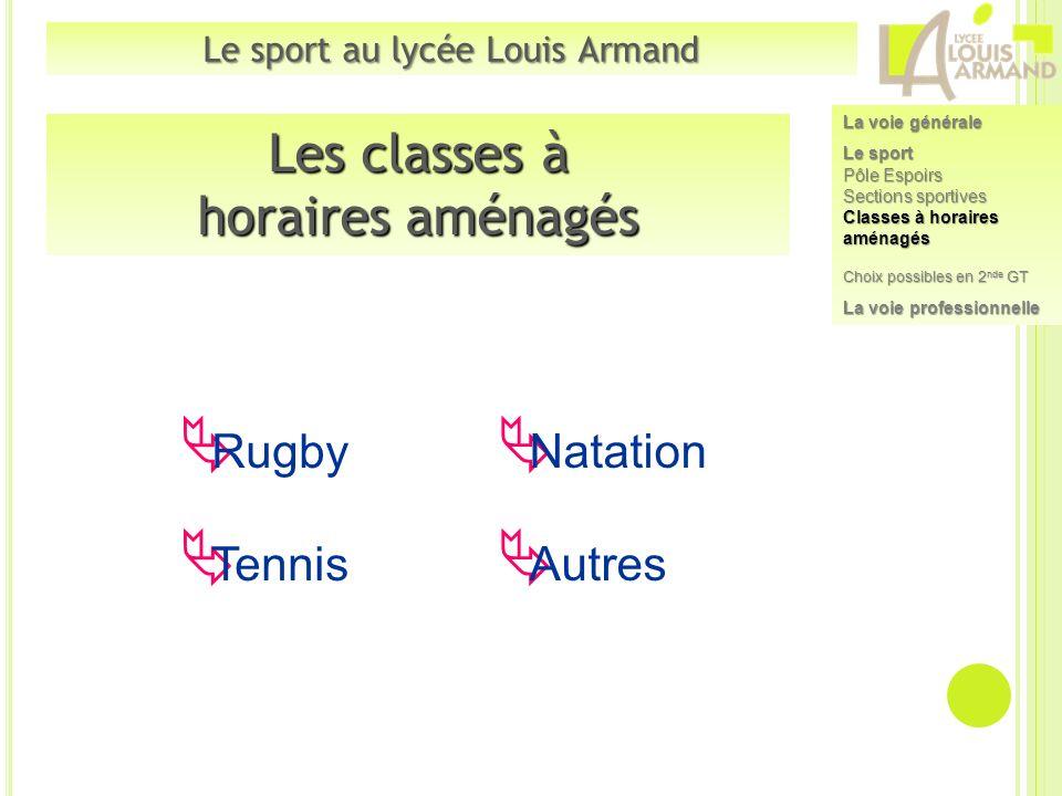 Les classes à horaires aménagés Rugby Tennis Natation Autres Le sport au lycée Louis Armand La voie générale Le sport Pôle Espoirs Sections sportives