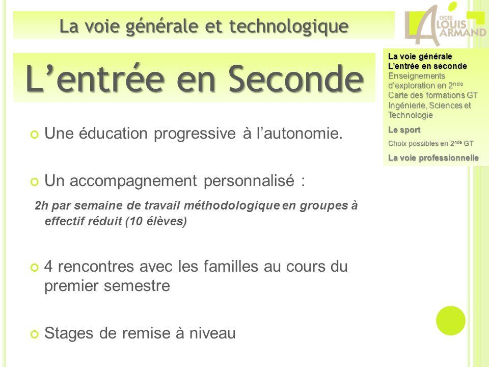 Une éducation progressive à lautonomie. Un accompagnement personnalisé : 2h par semaine de travail méthodologique en groupes à effectif réduit (10 élè