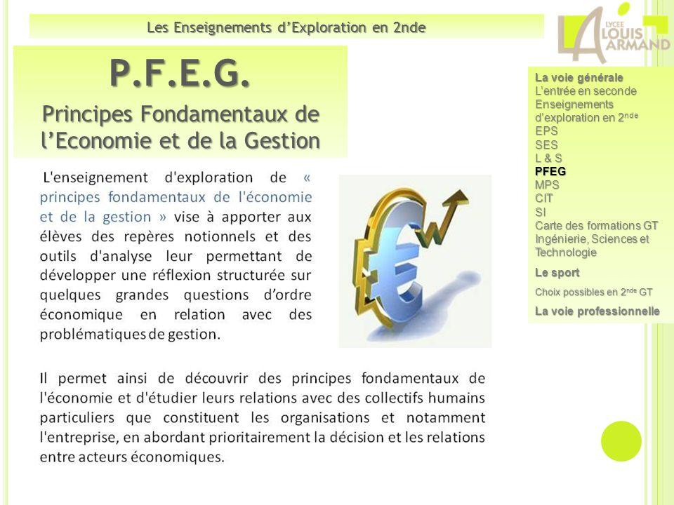 P.F.E.G. Principes Fondamentaux de lEconomie et de la Gestion Les Enseignements dExploration en 2nde La voie générale Lentrée en seconde Enseignements