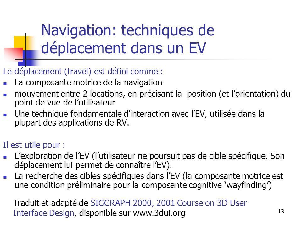 A. Branzan-Albu & D. Laurendeau GIF-66800 13 Navigation: techniques de déplacement dans un EV Le déplacement (travel) est défini comme : La composante