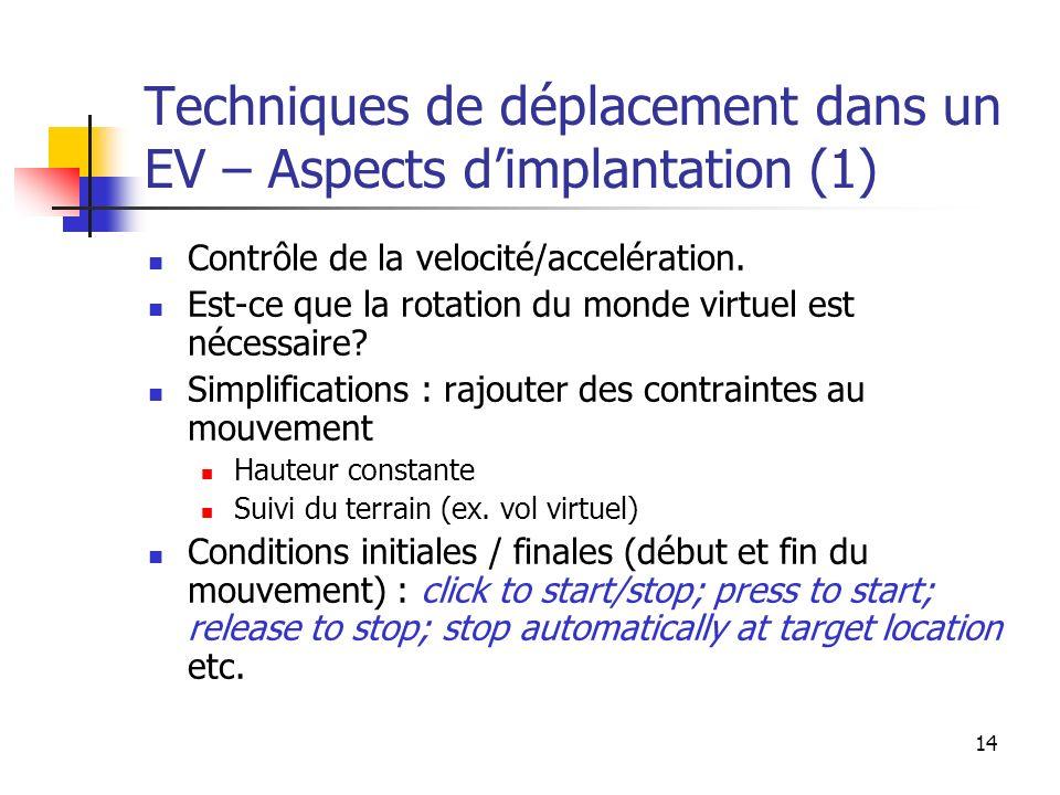14 Techniques de déplacement dans un EV – Aspects dimplantation (1) Contrôle de la velocité/accelération. Est-ce que la rotation du monde virtuel est