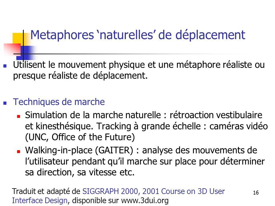 A. Branzan-Albu & D. Laurendeau GIF-66800 16 Metaphores naturelles de déplacement Utilisent le mouvement physique et une métaphore réaliste ou presque