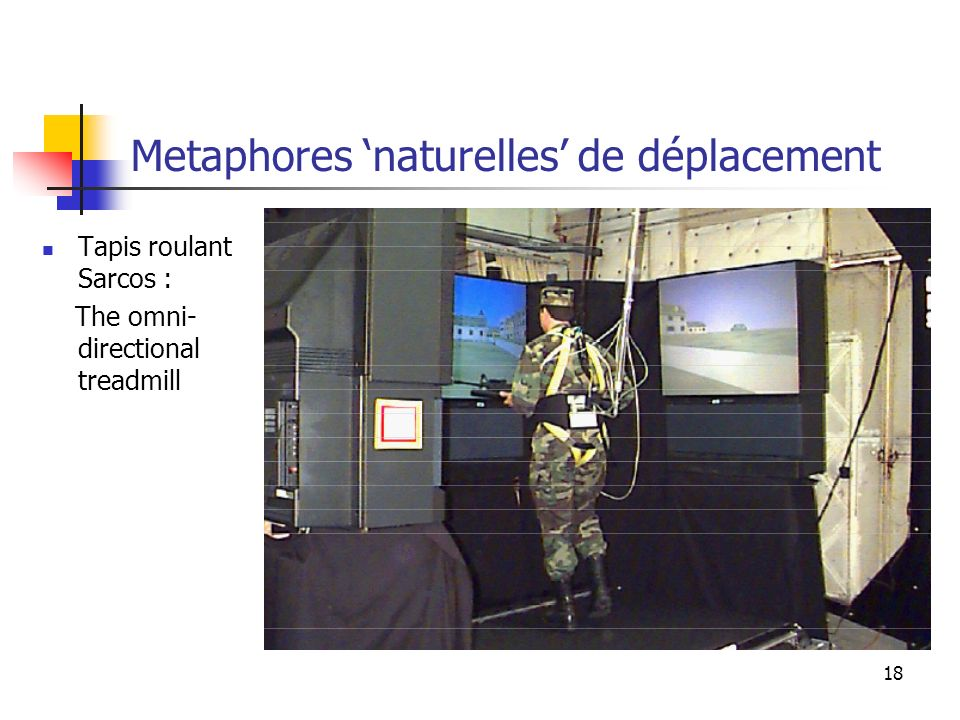 18 Metaphores naturelles de déplacement Tapis roulant Sarcos : The omni- directional treadmill