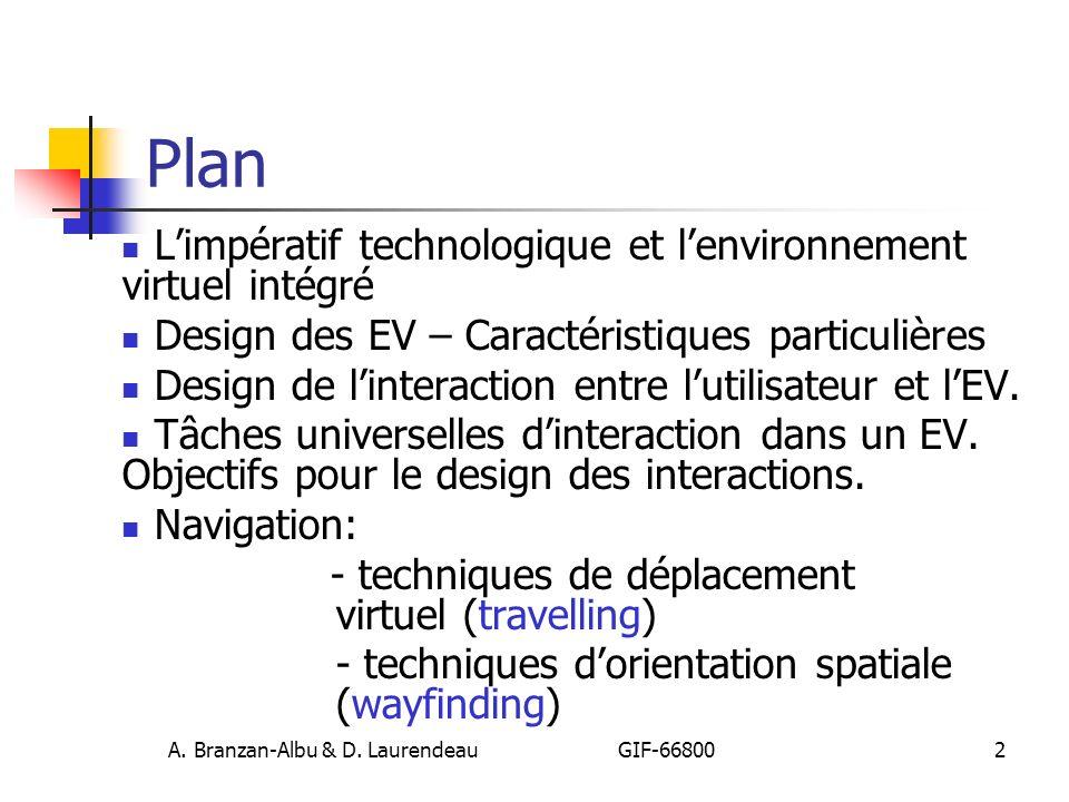 A. Branzan-Albu & D. Laurendeau GIF-66800 2 Plan Limpératif technologique et lenvironnement virtuel intégré Design des EV – Caractéristiques particuli