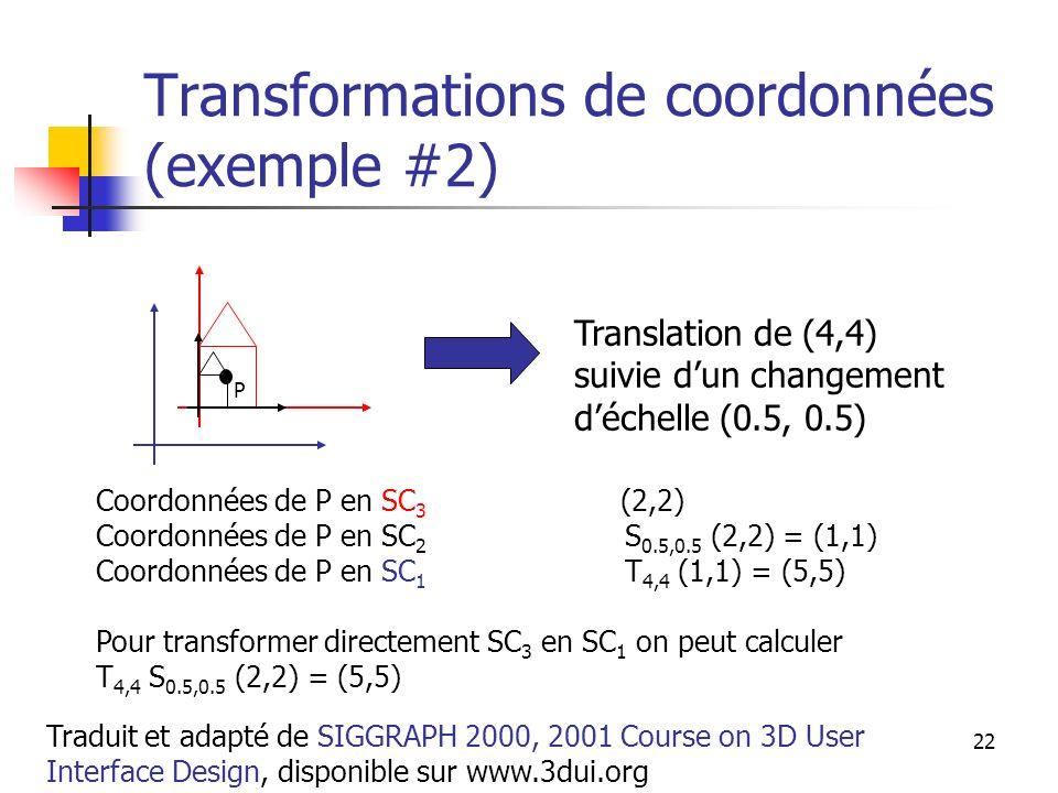 A. Branzan-Albu & D. Laurendeau GIF-66800 22 Transformations de coordonnées (exemple #2) Translation de (4,4) suivie dun changement déchelle (0.5, 0.5