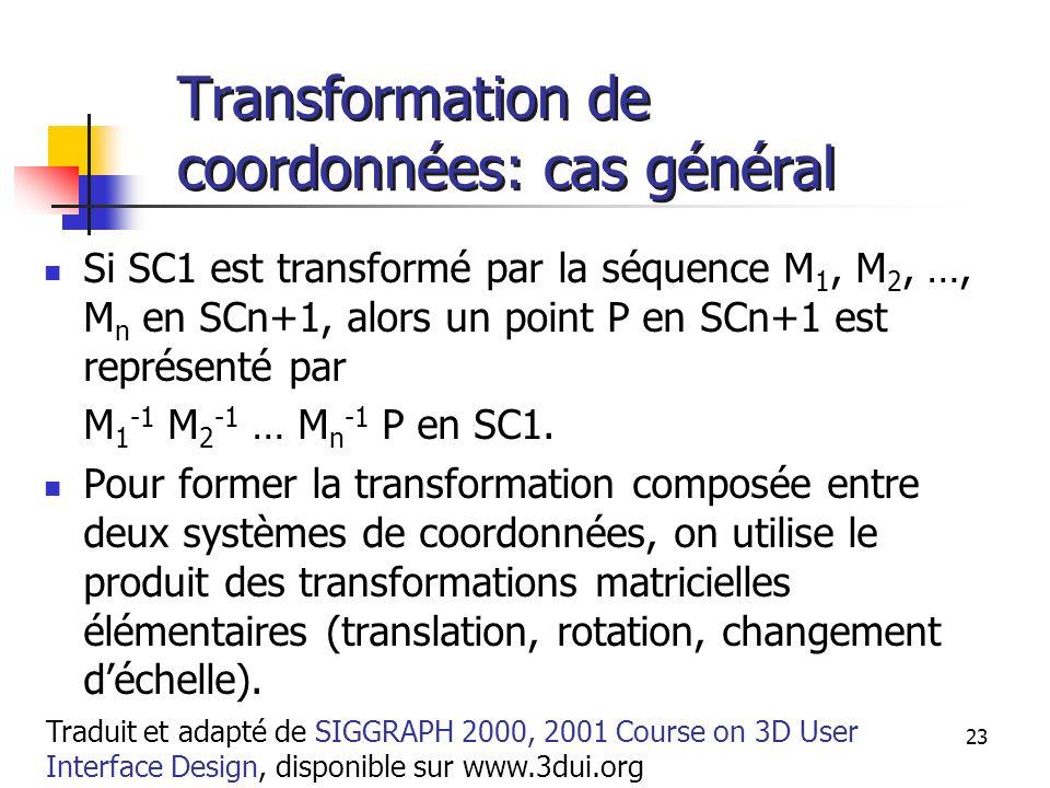 A. Branzan-Albu & D. Laurendeau GIF-66800 23 Transformation de coordonnées: cas général Si SC1 est transformé par la séquence M 1, M 2, …, M n en SCn+