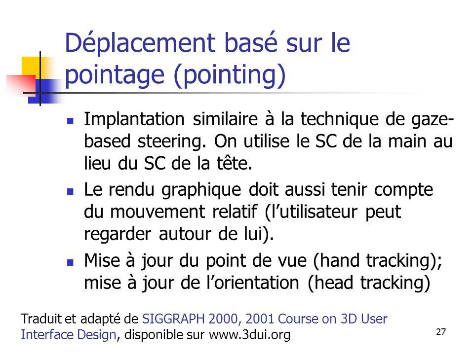 A. Branzan-Albu & D. Laurendeau GIF-66800 27 Déplacement basé sur le pointage (pointing) Implantation similaire à la technique de gaze- based steering