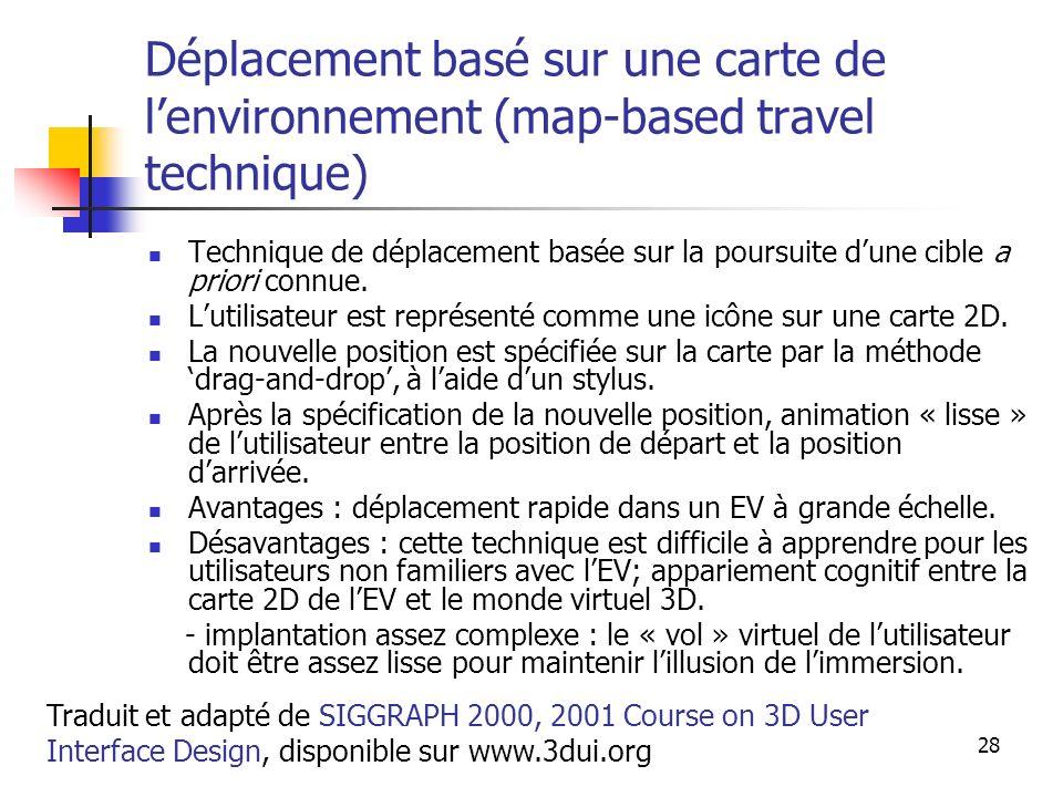 A. Branzan-Albu & D. Laurendeau GIF-66800 28 Déplacement basé sur une carte de lenvironnement (map-based travel technique) Technique de déplacement ba