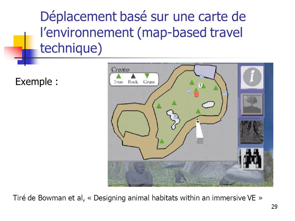 29 Déplacement basé sur une carte de lenvironnement (map-based travel technique) Tiré de Bowman et al, « Designing animal habitats within an immersive VE » Exemple :