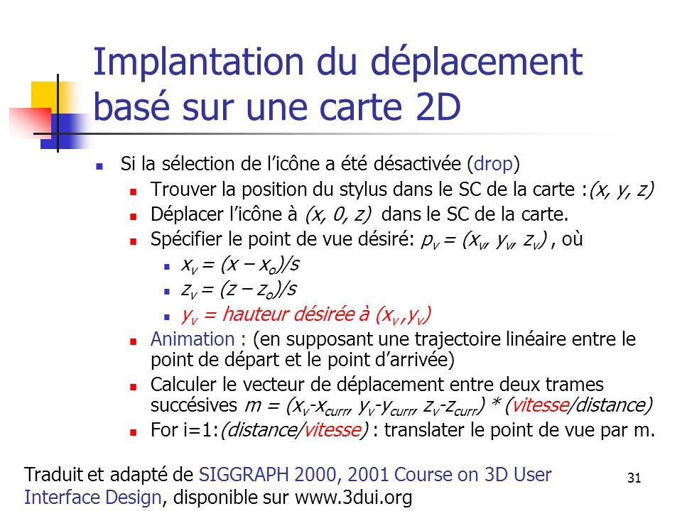A. Branzan-Albu & D. Laurendeau GIF-66800 31 Implantation du déplacement basé sur une carte 2D Si la sélection de licône a été désactivée (drop) Trouv